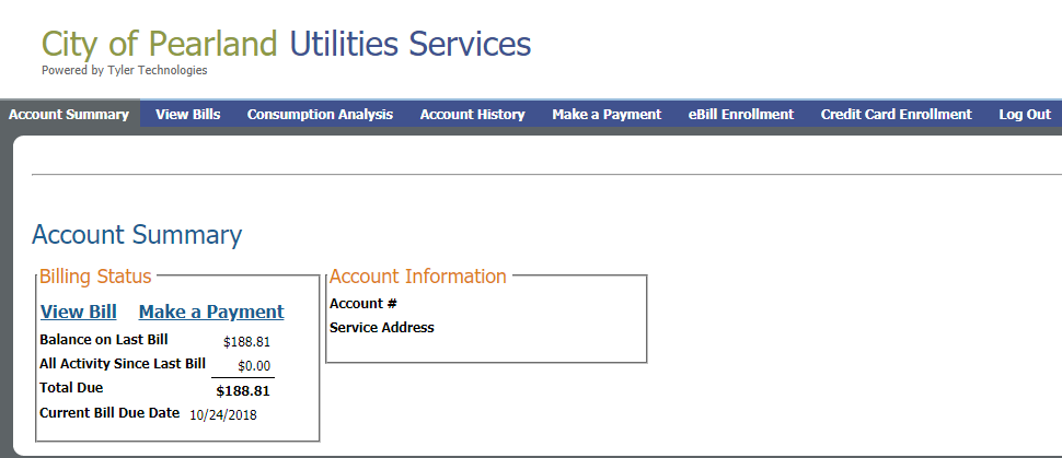 Online Billing System | City of Pearland, TX