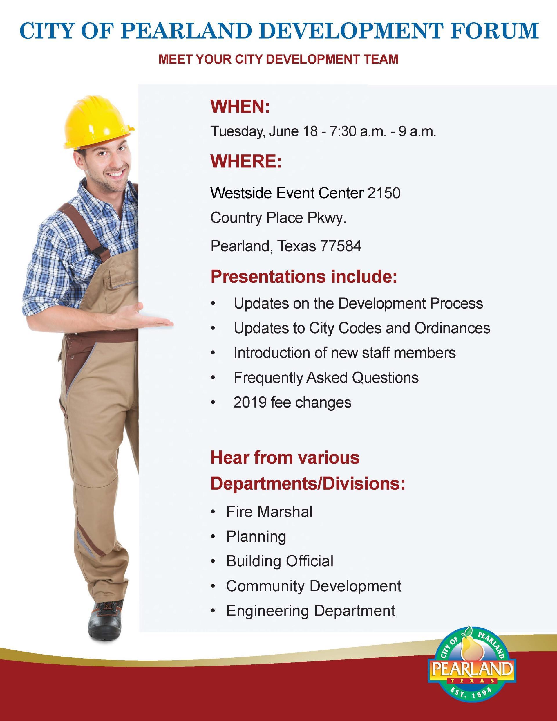 City of Pearland Development Forum | Calendar Meeting List | City of