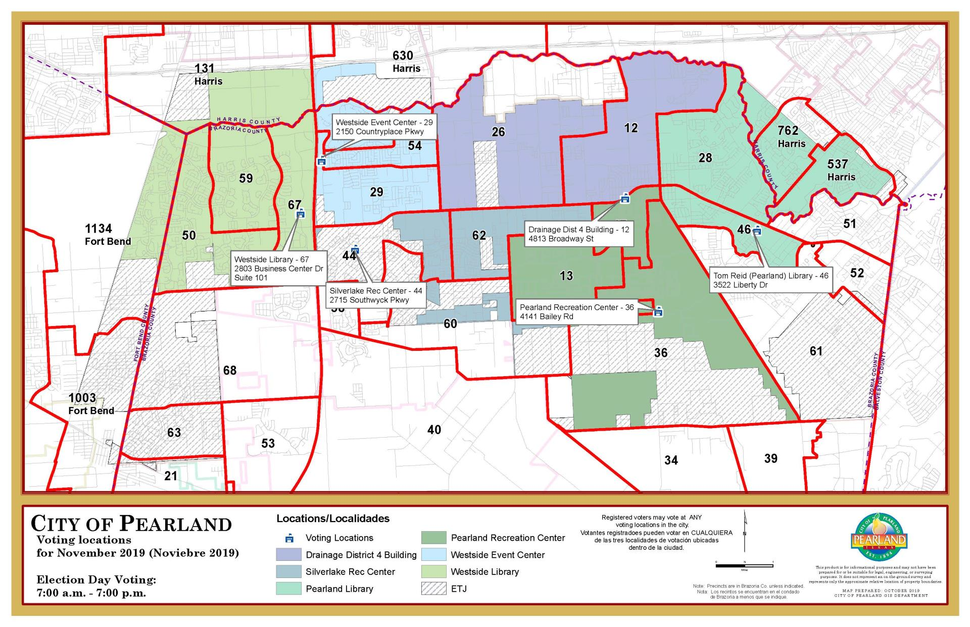 CLick Here for a Map of Nov 5 Pearland Voting Locations